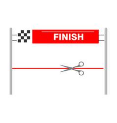 Red ribbon finishing line finish vector