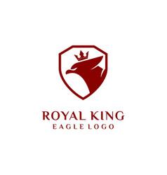 royal eagle logo eagle shield with crown logo vector image