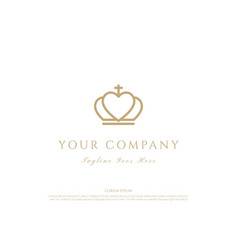 royal king queen crown love heart line outline vector image
