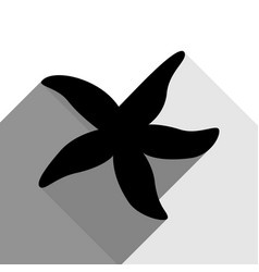 sea star sign black icon with two flat vector image