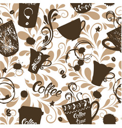 seamless pattern with cute cups coffee and vector image