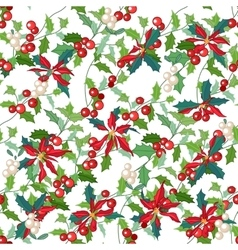 Seamless pattern with holly branches and Christmas vector image
