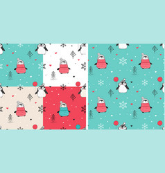 Seamless patterns set with hand drawn penguins vector