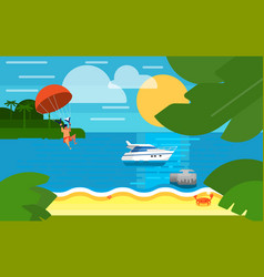 Seascape with powerboat and kiting man vector
