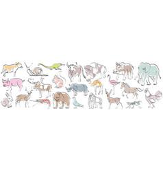 Set animals in hand drawn minimalism style vector
