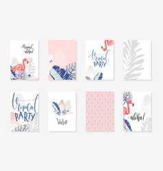set hand drawing tropical posters with flamingo vector image
