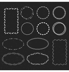 Set of hand drawn frames in a black backround vector