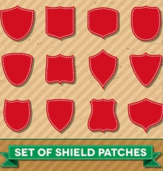 Set of shield shaped stitched patches vector image