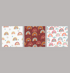 set seamless patterns with rainbows in boho vector image