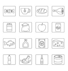 shop navigation foods icons set outline style vector image