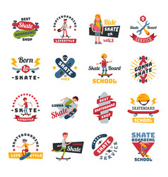 Skateboarders people tricks silhouettes sport logo vector