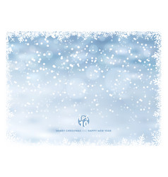 snowflake frame winter background with snow on vector image