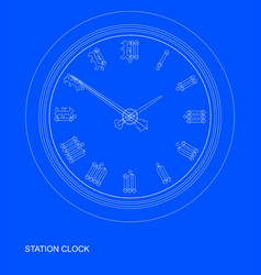 station clock blueprint vector image