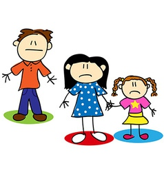 Stick figure unhappy family vector image