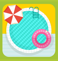 Summer round swimming pool vector