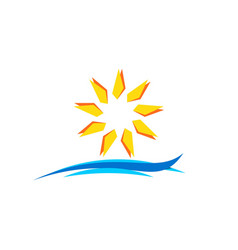 sun and wave logo icon symbol design vector image