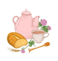 teapot cup of tea bread loaf honey dipper vector image