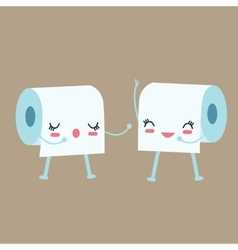 Tissue toilet paper character talk to each other vector