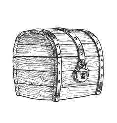 treasure chest protected metal lock vintage vector image