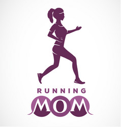 typographic running mom text vector image