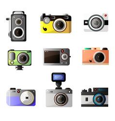 vintage and modern digital photo cameras optical vector image