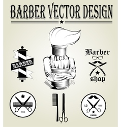 Vintage hand drawn logo of barber shop vector image