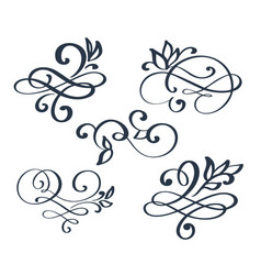 Vintage set hand drawn flourish separator vector
