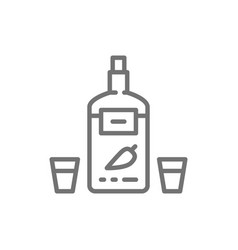 Vodka with pepper ukrainian national alcohol line vector