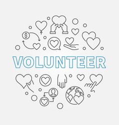 volunteer round outline concept vector image