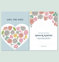 wedding invitation card with pastel roses vector image