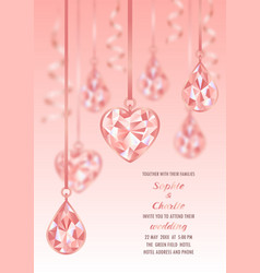 wedding invitation wiht pink diamond and blur vector image