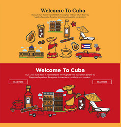 Welcome to cuba promotional poster with national vector