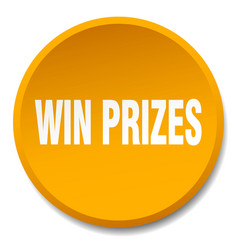 Win prizes orange round flat isolated push button vector