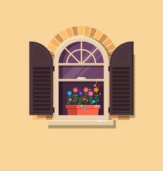 window with brown shutters and flower pots vector image