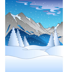 winter landscape with mountains vector image