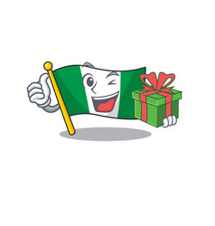 With gift flag nigeria mascot shaped a cartoon vector