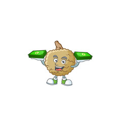 With money bag fresh marolo fruit character mascot vector