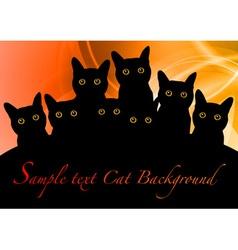 cat black background orange vector image vector image