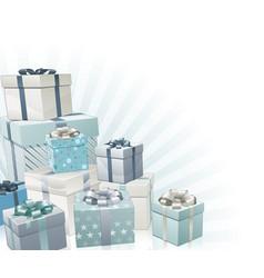 christmas gifts corner element vector image