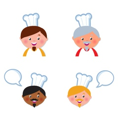 cute chef heads vector image