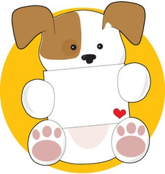 cute puppy letter vector image vector image