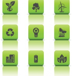 eco icons green buttons vector image