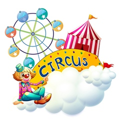 A female clown beside the circus signboard vector image vector image