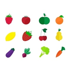 fruits and vegetables isolated on a white vector image vector image