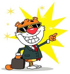 Happy Tiger Pointing Towards Success vector image vector image