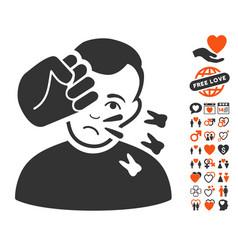 Head strike icon with love bonus vector