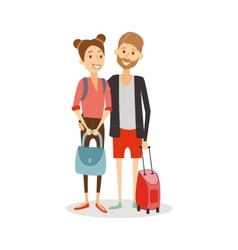 Married couple on journey Young happy newlyweds vector image vector image