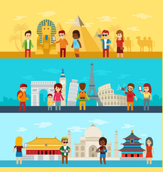 people travel around world tourists looking and vector image vector image