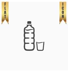 Plastic bottle and glass vector image vector image
