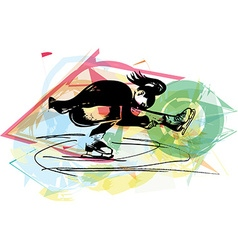 woman ice skater skating at colorful sports arena vector image